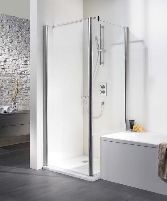 Eck-Dusche mit Drehtuer und Seitenwand