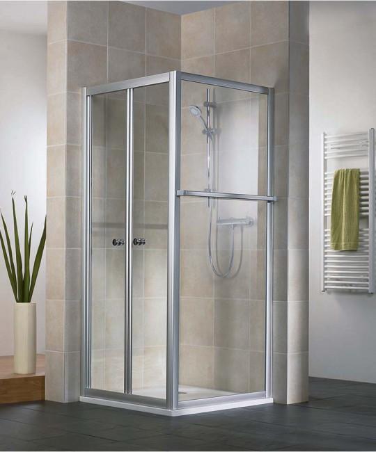 Eck-Dusche mit Klapptuer und Seitenwand