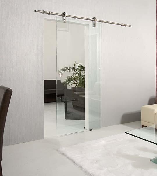 Ganzglas-Schiebetuer Light transparent